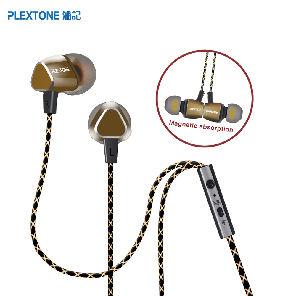 PLEXTONE Fashion In-Ear Sports Earphones with Microphone Super Bass New Headset Noise Cancelling Music For Xiaomi Mobile Phone ufo pro metal in ear earphones treadmill female drug sing karaoke audio headset diy mobile phone