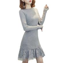2017 зима рыбий хвост платья средней длины вязаный Базовая футболка с длинными рукавами тонкие кружева лоскутное Трикотаж Свитер Платье Vestido