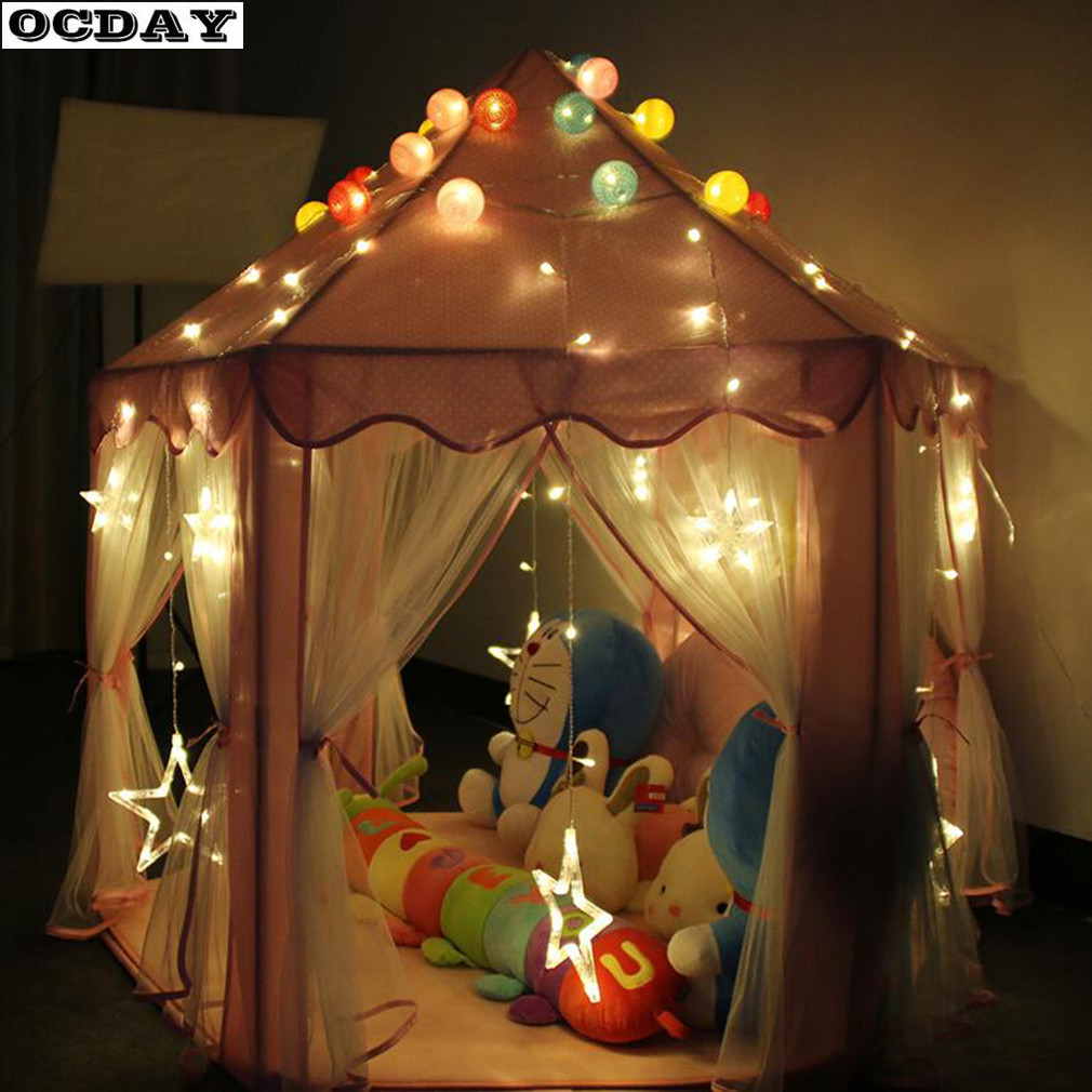 Lovely Girls Pink Princess Castle Play Toy Tent Cute Playhouse kids Indoor Outdoor Game House For Children Portable Toys Tent