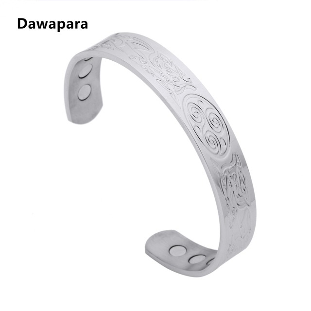 Dawapara Vegvisir Aka Norse Viking Runic Comp Bracelet Men Women Stainless Steel Bangle Arthritis Pain Relief
