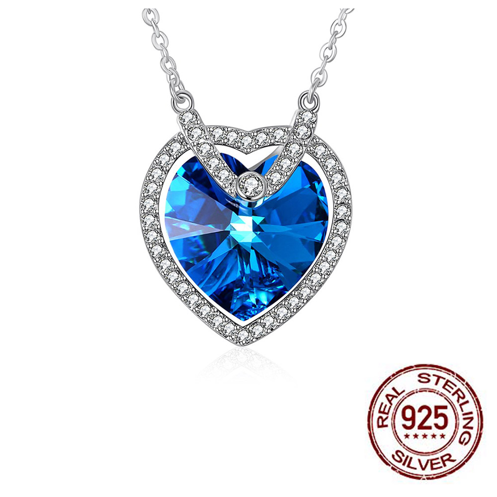 Genuine 925 Sterling Silver Necklace Love Heart Pendant LEKANI Crystals From Swarovski Women Wedding Jewelry stylish rhinestoned heart faux crystals beads tassel pendant necklace for women