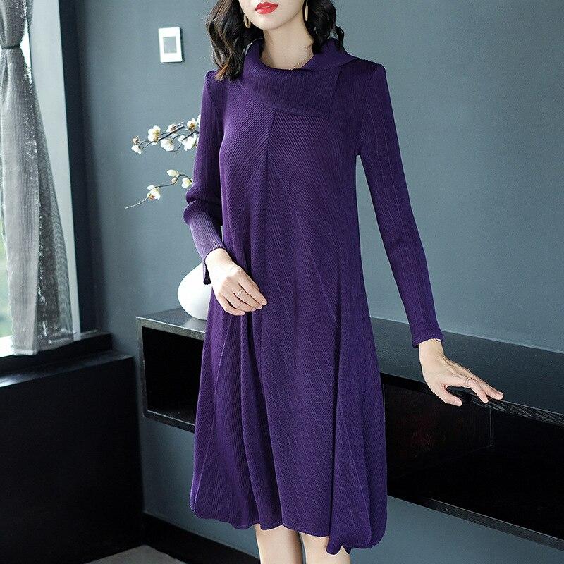 Casual Robe Seule purple Lâche Élégante Libre Pièce Black red Couleur wine Automne Taille navy D'une Dame Femmes Plissé Solide 5S34qcLARj