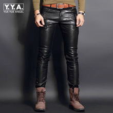 Top New Fashion PU Leather Mens Pants Trousers Motorcycle Europe Punk Man Slim Fit Trousers Male Trousers Plus Size 28-36