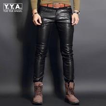 2016新しいファッション本革メンズパンツズボンオートバイヨーロッパパンク男スリムフィットパンツ男性のズボンプラスサイズ28-36
