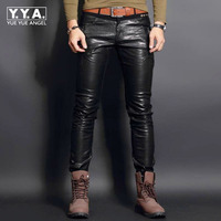 Top New Fashion PU Leather Mens Pants Trousers Motorcycle Europe Punk Man Slim Fit Trousers Male Trousers Plus Size 28 36