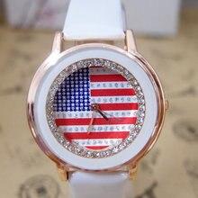 a0d71ef8dbe Venda quente Da Bandeira DOS EUA de Couro Strass relógios mulheres Senhoras  vestido de quartzo relógio