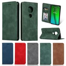 SsHhUu Skin feel Leather Magnetic Flip Case for Moto G7play Luxury Card Slot Holder Stand Cover G7plus