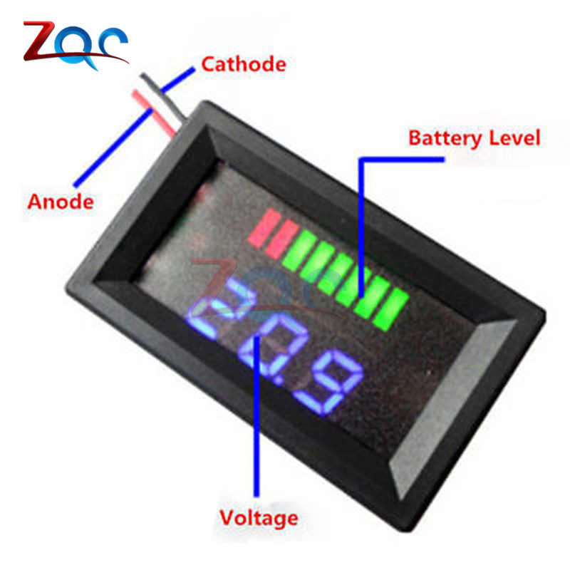 12V 24V 36V 48V Blue LED Lead-acid Battery Indicator Battery Capacity Acid Tester Voltmeter Charge Level Indicator For Arduino td05 factory direct sales 12v24v36v48v lead acid battery capacity display professional capacity indicator