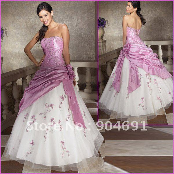 A-line Strapless Pleated Lavender Taffeta White Organza Embroidered Prom Dress Custom Quinceanera Dress Floor Length Ball Gown
