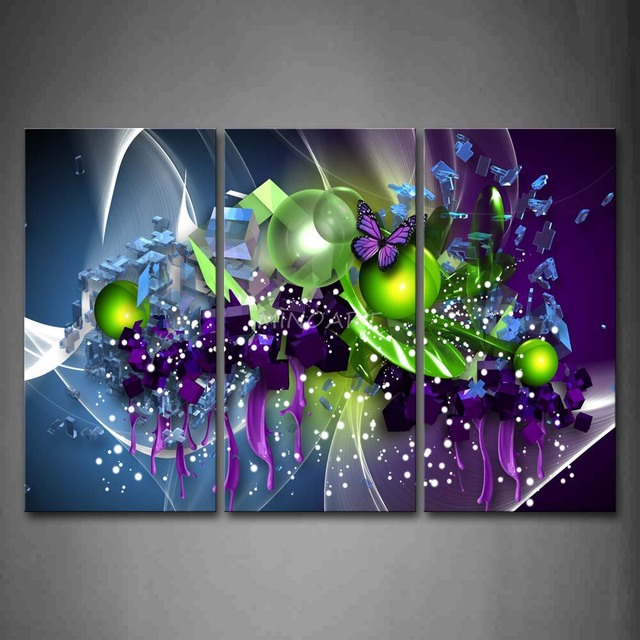3 peça Wall Art peinture artistique violet papillon vert balle ...