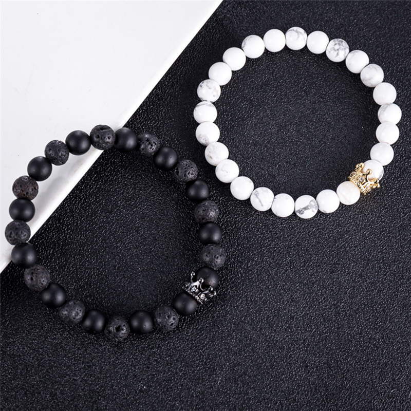 Couple His And Hers Bracelets Distance Black & White Beads