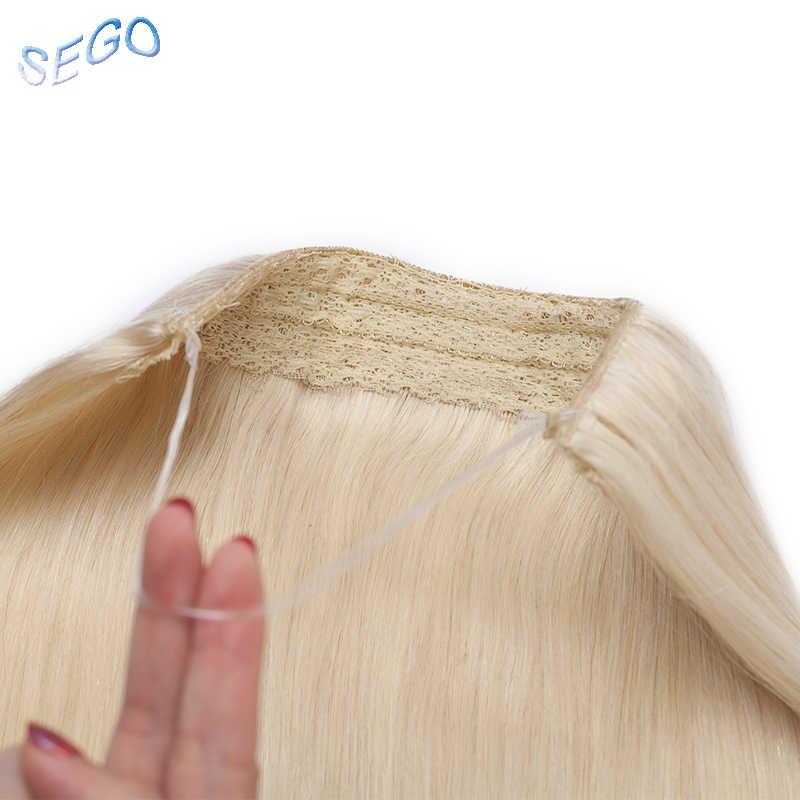"""SEGO 16 """"-22"""" прямые невидимые пряди для наращивания волос секретная рыбья линия шиньоны без зажимов не Реми шелковистые настоящие натуральные человеческие волосы"""