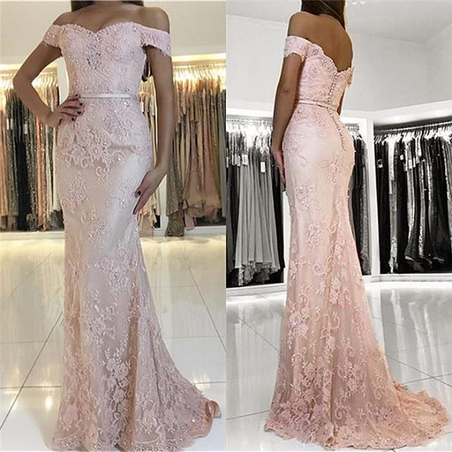 Elegant Long   Prom     Dress   Sweetheart Off the Shoulder Floor Length Beaded Lace Evening Formal   Dress   Vestido de festa longo
