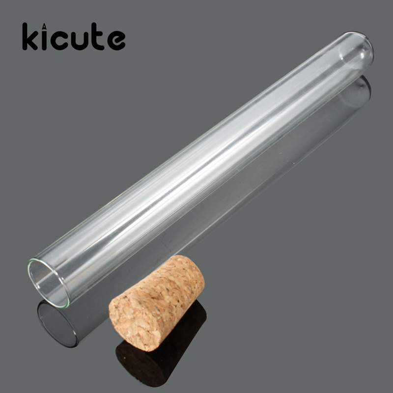 Kicute 50pcs set Overvalue 20X200mm Lab Glass Test Tube With Cork Stoppers Laboratory Lab School Educational