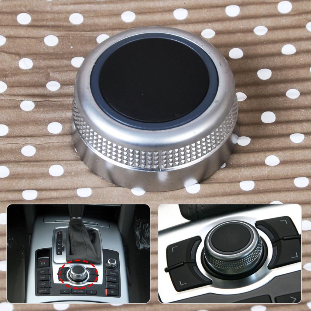 CITALL 4F0919069 Chrome Multimedia MMI Main Menu Control Rotary Switch Knob Cap Cover For Audi A6