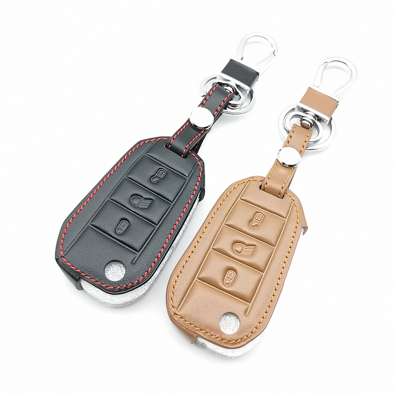 Folding leather car <font><b>key</b></font> cover For <font><b>Peugeot</b></font> 3008 <font><b>208</b></font> 308 508 408 2008 307 4008 Skin Holder 2016 2017 2018 car <font><b>keys</b></font> accessories image