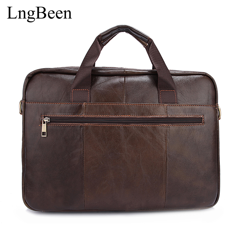 NEW Genuine Leather Men Briefcase 14 inch Laptop Business Bag Cowhide Men's Messenger Bags Luxury Lawyer Handbags Coffee LB1118 цена и фото