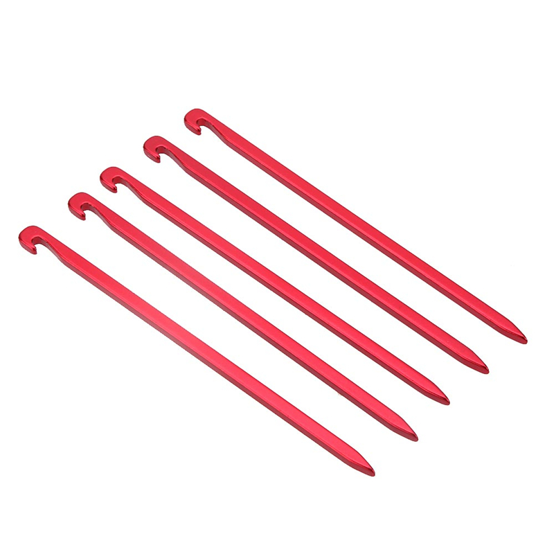 5pcs Aluminum Alloy Tent Pegs Stakes Hook Pin Tent Nail Outdoor Camping Hiking Trip Essential Tool