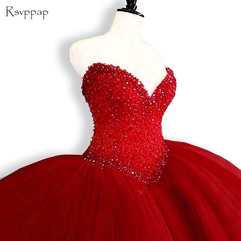 Пышные платья 2018 Милая Топ Бисероплетение Сладкие 16 Бальные платья Красный Quinceanera платье 15 лет День рождения