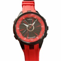 Rotate Rubber Watch Mechanical Movement Men Watch Automatic Classic Red Blue Black dial watch Best quality