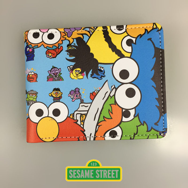 Cartoon Anime Purse Gift for Young Sesame Street Wallets PU Leather Dollar Money Bags Boy Girl Short Wallet hot sale fallout shelte wallet pu leather purse cartoon anime lovely money bags gift kids boy teenager vault tec short wallets