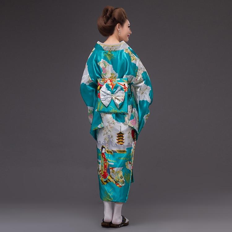 2017New Japan Kimono Kvinners Geisha Kimono Prom Kjole Vintage - Nasjonale klær - Bilde 3