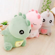 cute Green Dinosaur Plush Stuffed Animal, mainan lembut suka diemong Usia 3+