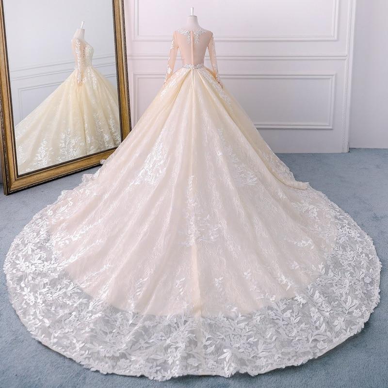 a3a66a638 Popodion champán manga larga corte retro cola boda vestido de novia vestido  de boda vestido de novia de WED90442 en Vestidos de novia de Bodas y  eventos en ...