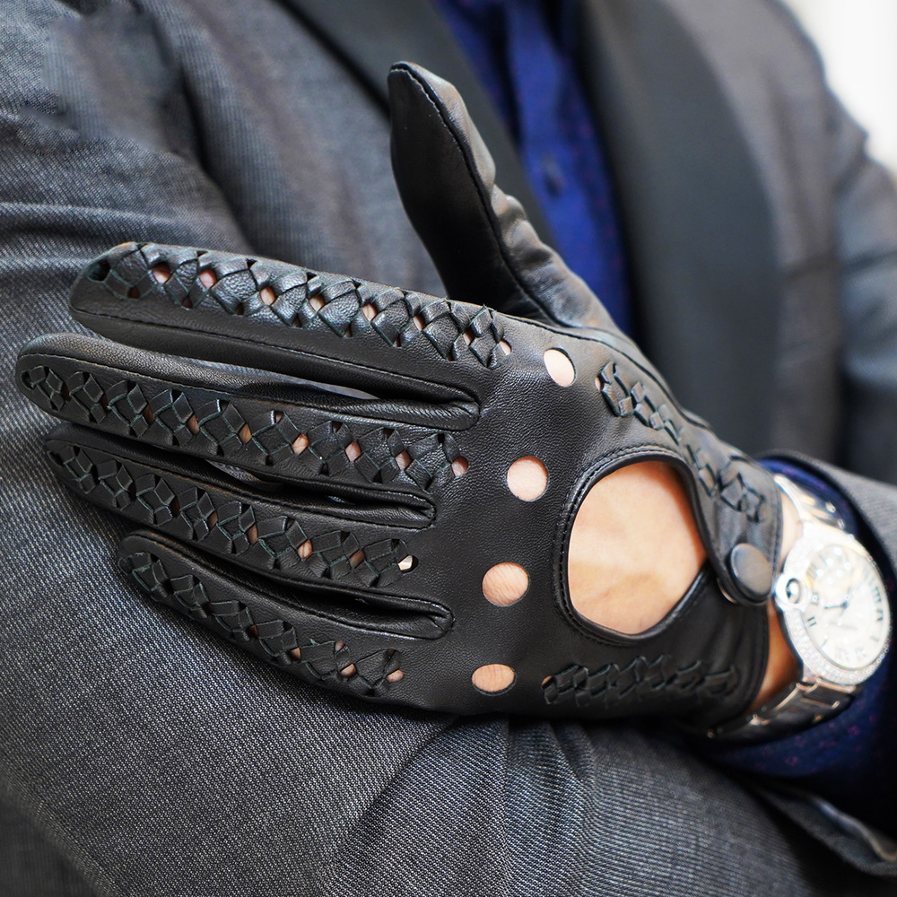 Touchscreen Man 39 s Gloves Spring Summer New Leather Gloves Male Ultra Thin Single Leather Woven Locomotive Driving Mittens M 107 in Men 39 s Gloves from Apparel Accessories