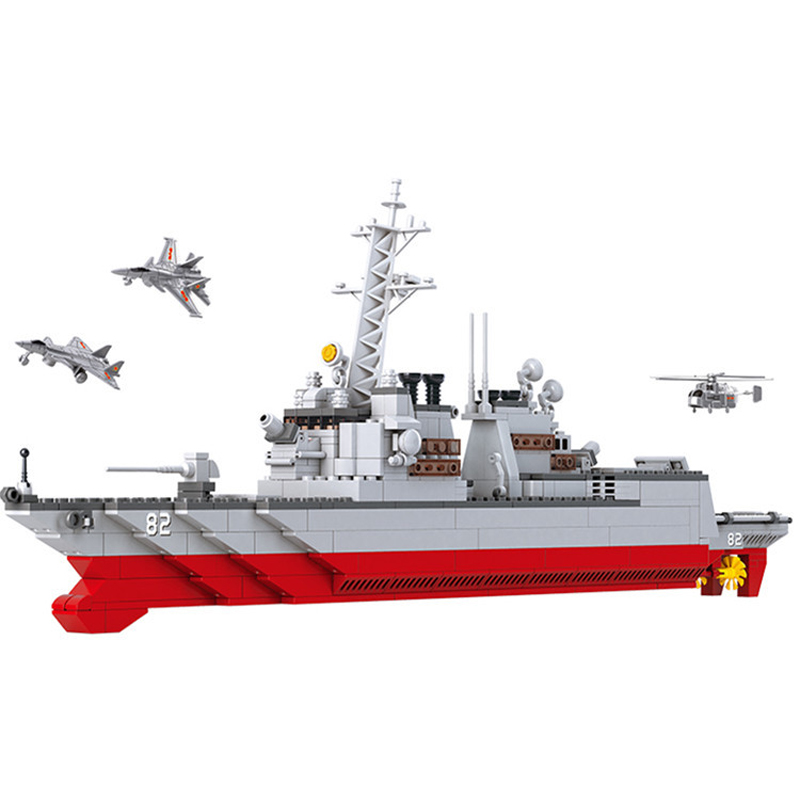615pcs Children s building blocks toy Compatible city Military series battle group destroyer Bricks birthday gifts