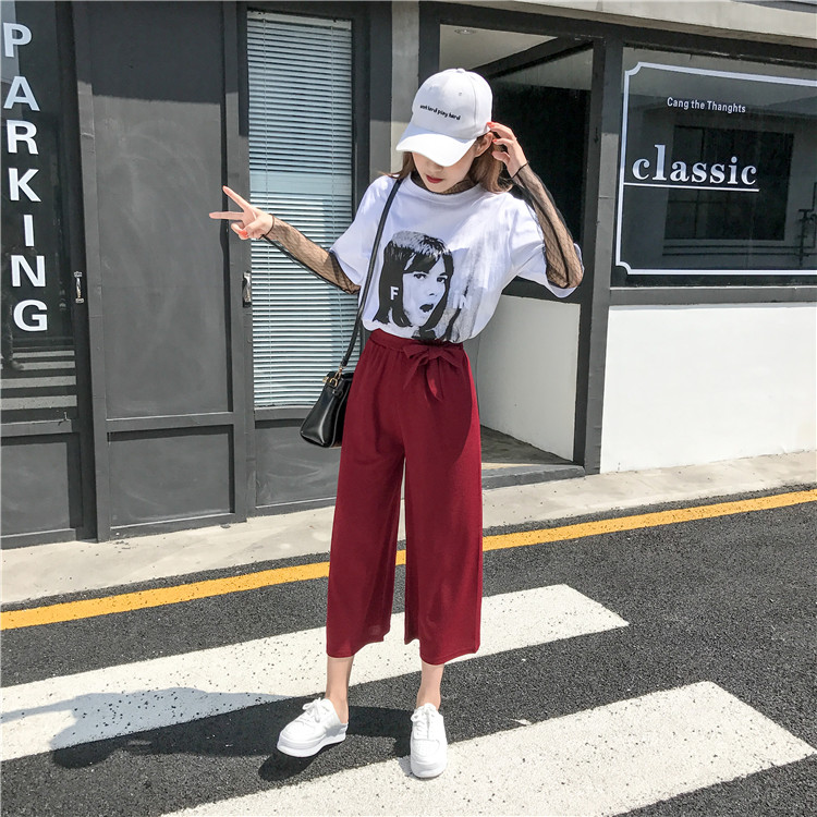 19 Women Casual Loose Wide Leg Pant Womens Elegant Fashion Preppy Style Trousers Female Pure Color Females New Palazzo Pants 59