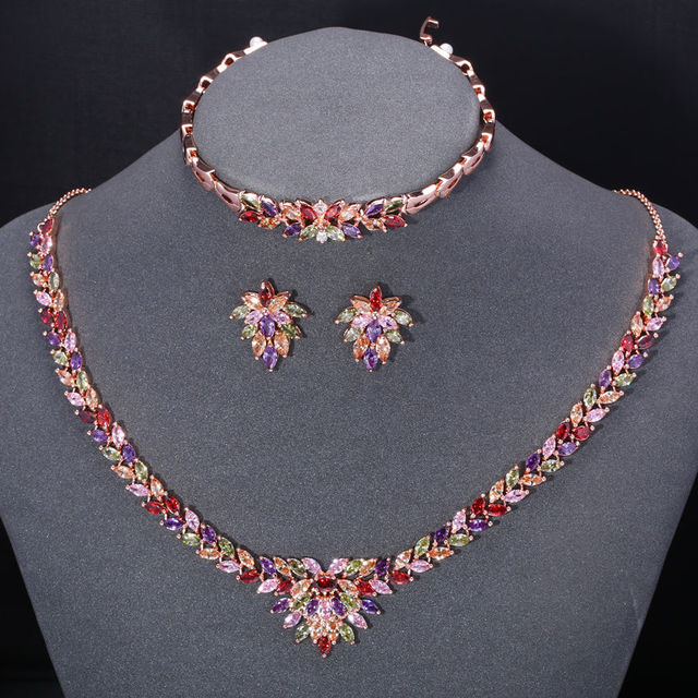 ZHE VENTILADOR De Luxo Colorido AAA Zircão Branco Rosa Banhado A Ouro Conjuntos de jóias de Flores Para As Mulheres de Casamento 3 Pcs Colar Brinco pulseira