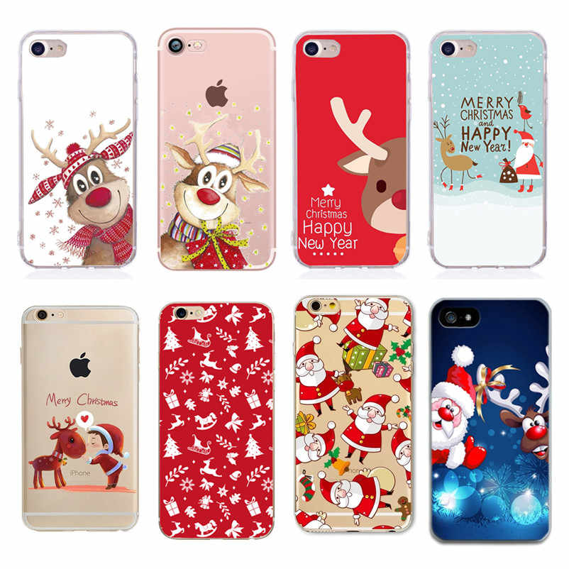 Soft TPU Silicone Phone Cases Coque Merry Christmas Santa Claus Happy New Year for iPhone 5 5S SE 6 6S 7 8 X Plus Coque Shell