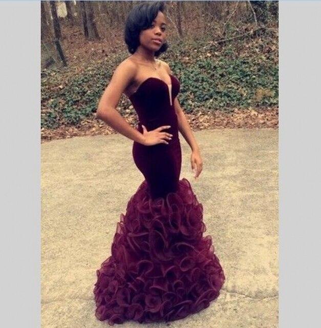 5d649268c3 Dark maroon prom dresses long corset party gowns ruffles skirt custom made  sweetheart velvet robe de
