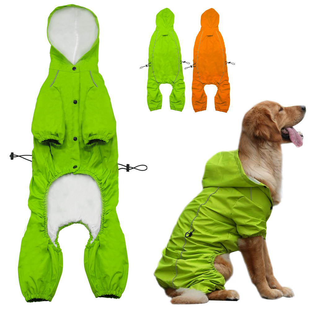 Pet Dog Hooded Raincoat For Medium To Large Dogs