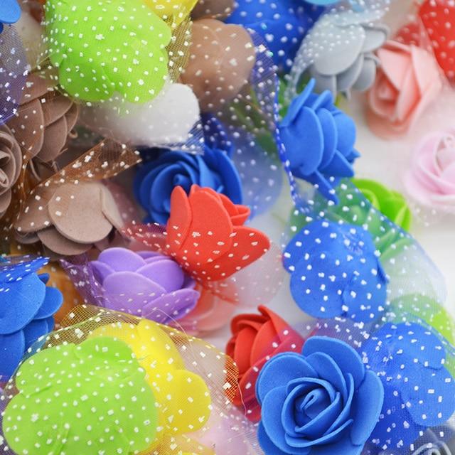 50Pcs/lot 3.5cm Mini PE Foam Rose Artificial Flower Heads For DIY Wreaths Accessories Wedding Decorations Party Handmade Crafts