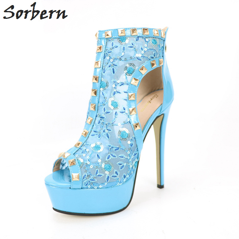 Blue Embroidery Cut-Out Women High Heel Sandals Designer Shoes Women Luxury 2017 Zapatos Mujer Women Open Shoes Platform Heels new arrival mixed colors flower women sandals high heels open toe framework heel sandals flat heel platform shoes zapatos mujer