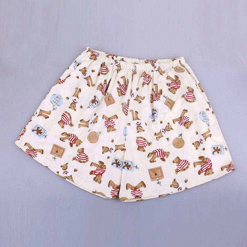UNIKIWI. Милые летние хлопковые Пижамные шорты для сна, женские свободные пижамные штаны с эластичной резинкой на талии размера плюс M-XL отдыха. 21 цвет - Цвет: 010