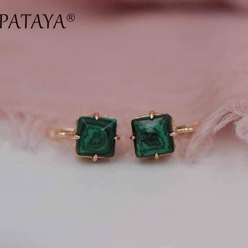 PATAYA New Arrivals Square Stripe Onyx Natural Stone Earrings 585 Rose Gold Dangle Earring Women India Jewelry RU Hot Multicolor