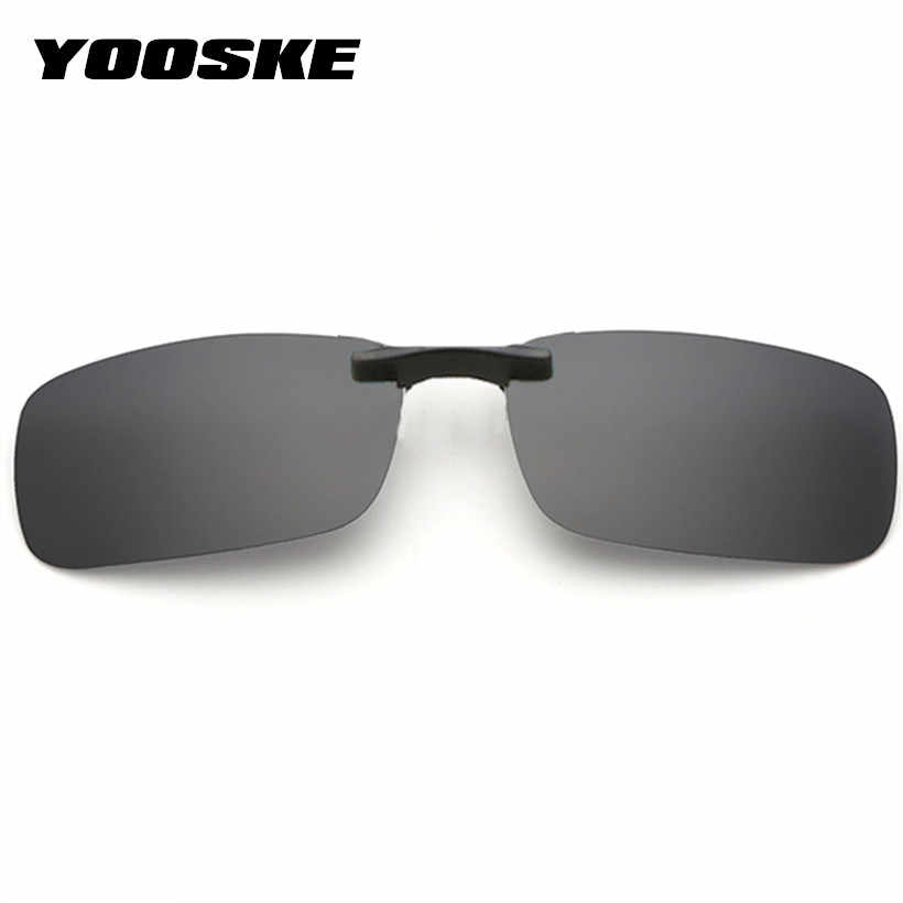 1238d24b9ab YOOSKE Polarized Clip On Sunglasses Men Driving Sun Glasses Women Night  Vision Lens Anti-UVA