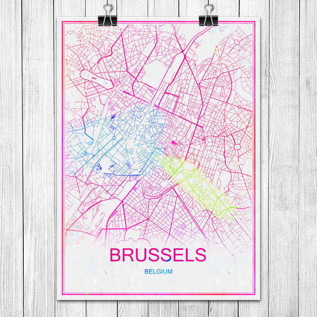 Online Shop Modern Colorful World City Map BRUSSELS Belgium Print
