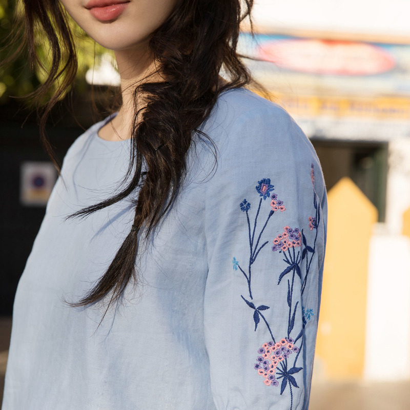 Inman Summer 2018 Woman Cotton Blouse Lotus Leaf Short Sleeve Tops Causal Embroidery Fresh Pink Woman Blouse 4