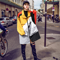 2017 Vintage Streetwear Patchwork Colorful Trench Coat Autumn Winter Full Sleeve Loose Turn Down Collar Long