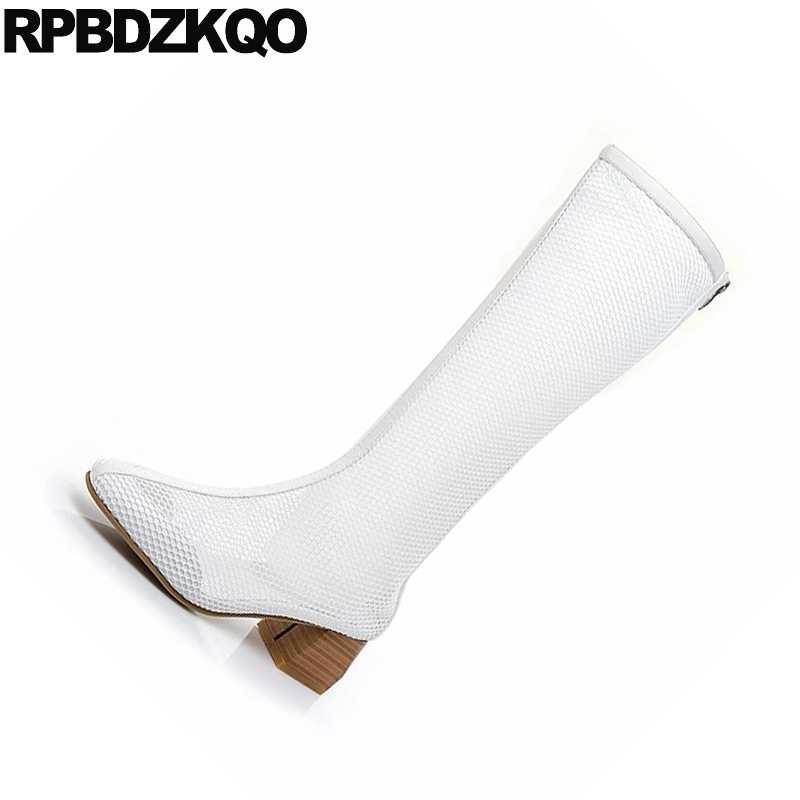 Zomer dikke chunky tall designer schoenen vrouwen luxe 2018 laarzen brede kuit sandalen lange mesh dames ronde teen knie hoge casual
