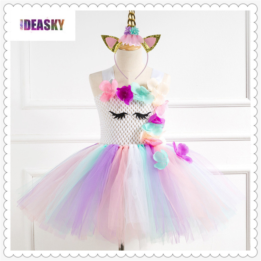 Kids Girls Unicorn Costume Birthday Party Cosplay Fancy Dress Up Princess Outfit