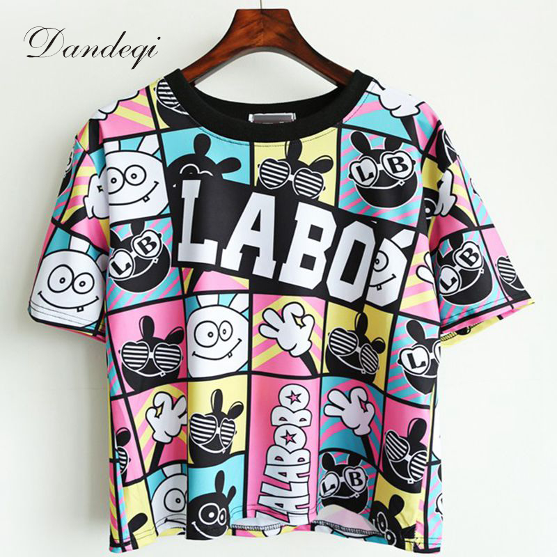 Camisetas Crop Top New Summer Style Kvinnor T-shirt Unika Tryckta T-shirts Koreanska Kläder Basic Korta Kepsar Harajuku Bottoming Tops