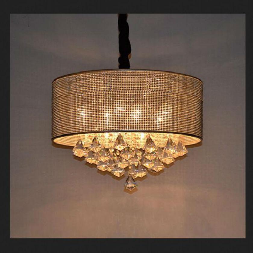 цены  Round Modern circular droplight led crystal pendant lamp for dining room stainless steel pendant light fixture Lustres Luminaria