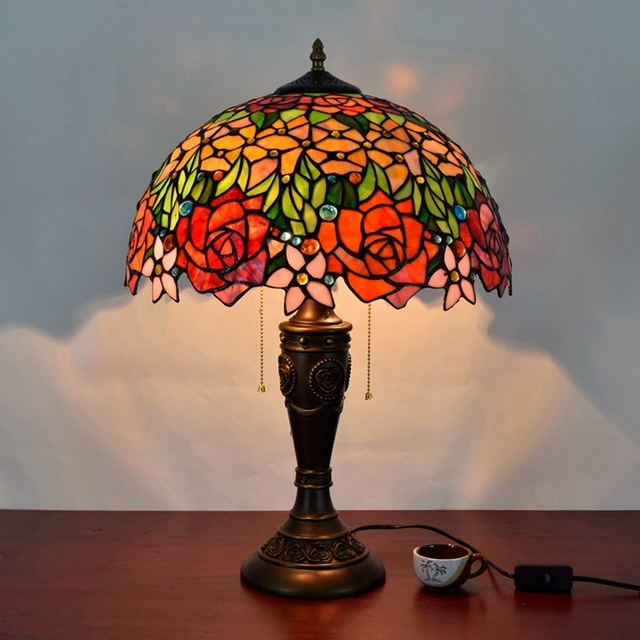 16 Inch Rose Flowers Tiffany Table Lamp Country Style Stained Gl For Bedroom Bedside E27 110 240v