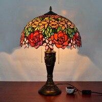 16 inç gül çiçek tiffany masa lambası ülke tarzı vitray yatak odası için lamba başucu lambası E27 110-240V