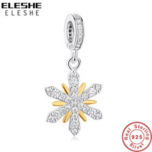 ELESHE Original European 925 Sterling Silver Beads Crystal Gold Snowflake Charms fit Pandora Bracelet DIY Jewelry Christmas Gift(China)